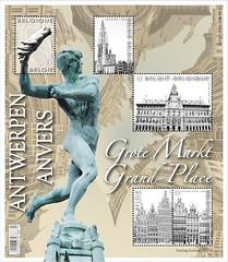 16 Markt Van Antwerpen timbre z blaadje foto
