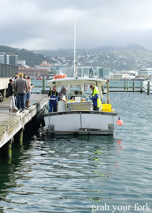 Boat selling fresh seafood at Harbourside Market, Wellington