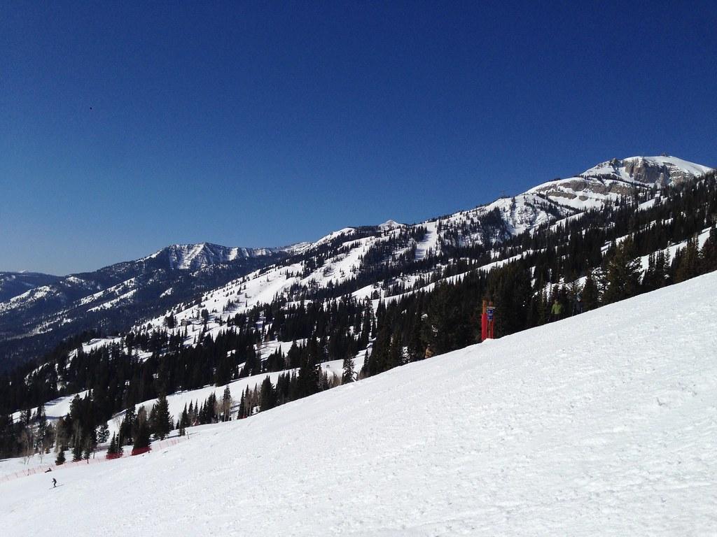 Skiing down Teewinot Face