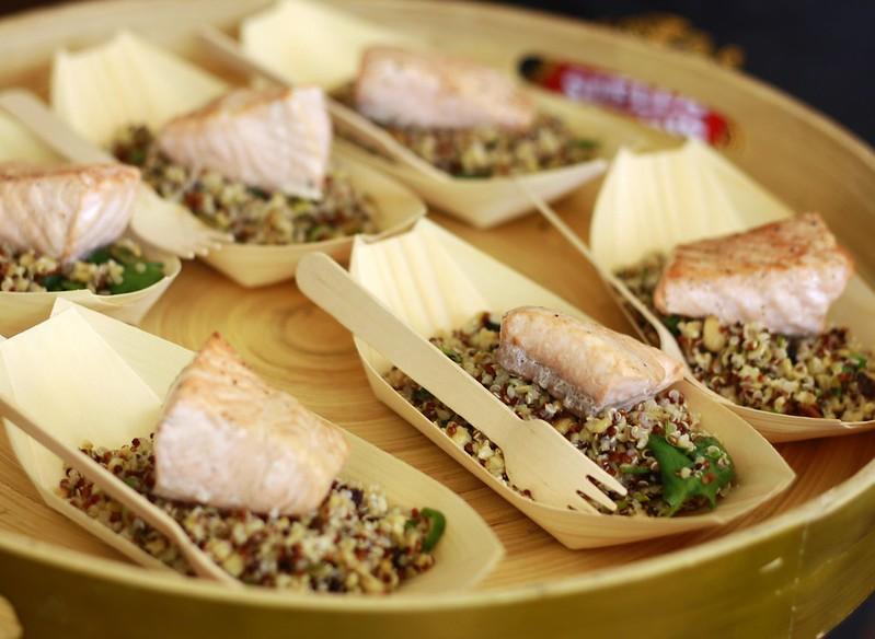 Salmon and quinoa tapas