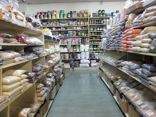 shelves full of food