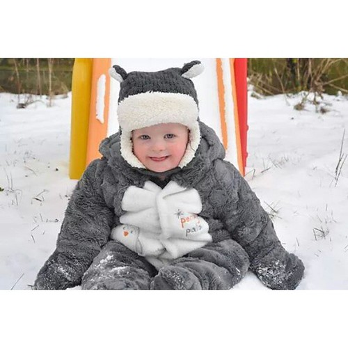 Liam's first time playing in the snow! It snowed very little last year, and he was sick on the days we had accumulation. At first, he looked confused, then his smile took over! #firstsnow #16Months