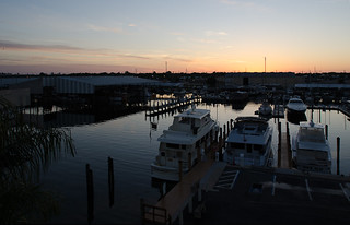 Sunrise at 7:21 AM on April Fool's Day over Maximo Marina and Maximo Seafood Shack, St Petersburg, Florida