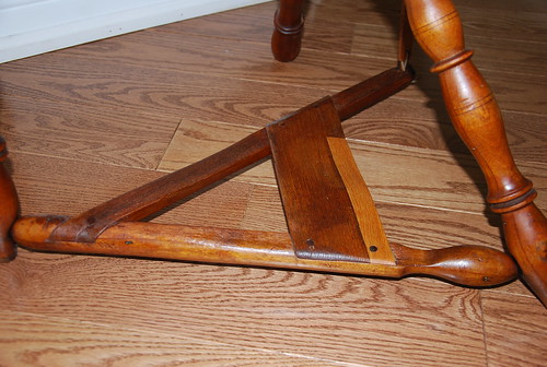 Antique flax saxony spinning wheel treadle
