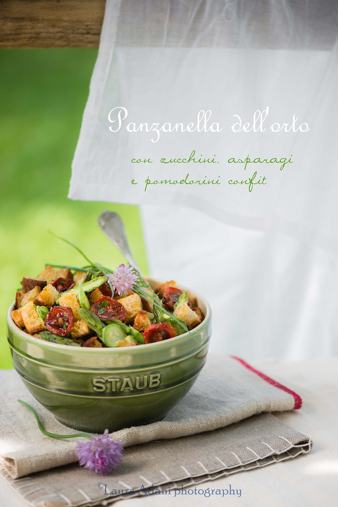 panzanella  with asparagus, cougettes and tomatoes confit