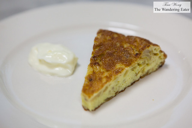 Plated tortilla Española with aioli