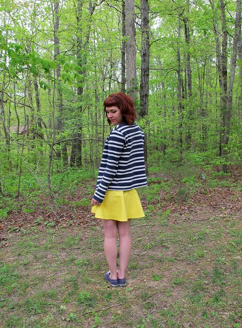 Striped Cabernet Cardigan + Yellow Hollyburn