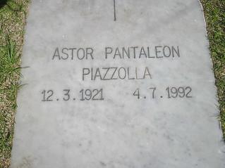 Piazzolla's grave at Jardin de Paz - Buenos Aires