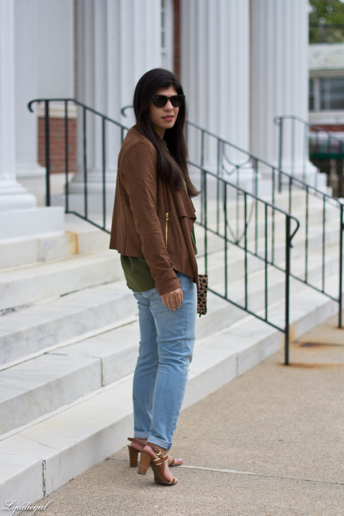 green button down, brown draped jacket, distressed denim-3.jpg
