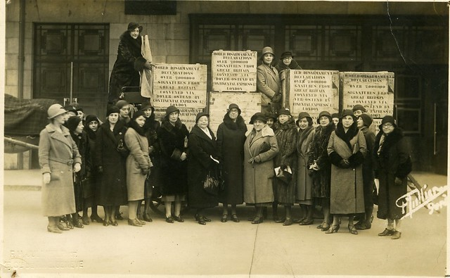 British WILPF members arriving in Geneva with their Disarmament petition, 1932. The central figure, in the middle of the first row, with glasses and handbag, is Rosa Manus, a Dutch feminist and peace activist, at the time secretary of the Peace and Disarmament Committee of the Women's International Organizations, who received the British WILPF delegation in Geneva. Credit: LSE Library