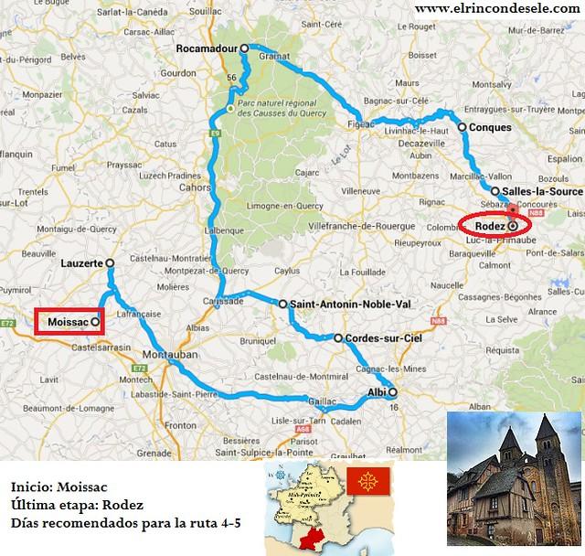 Mapa de la ruta que hicimos en el viaje a Midi-Pyrnénées (Francia)