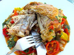 BRAISED TURKEY LEG WITH BELL PEPPERS AND GREAT NORTHERN BEANS