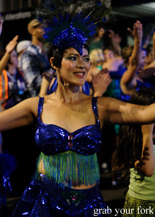 Batucada parade samba dancer at the Cuba Dupa Festival 2015, Wellington