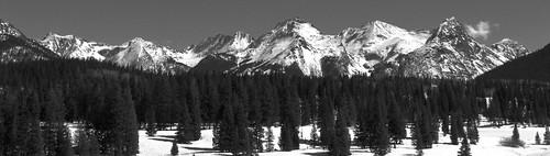 winter blackandwhite snow mountains rural forest colorado sanjuanmountains milliondollarhighway weminuchewilderness needlemountains