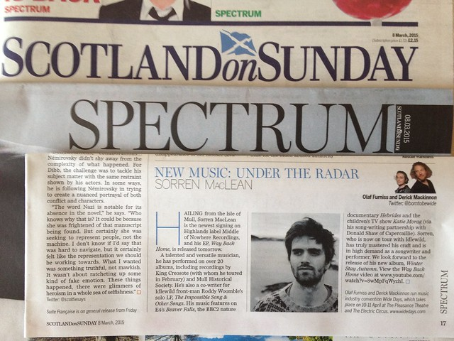 Olaf Furniss and Derick Mackinnon Scotland On Sunday, Spectrum Magazine 8 March 2015, Sorren MacLean