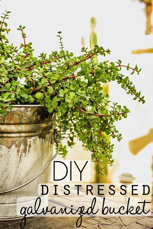how to distress galvanized bucket DIY #DisneyEaster