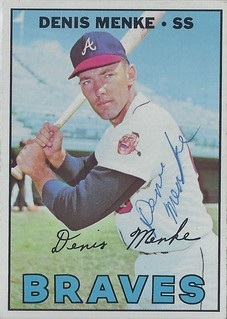 1967 Topps - Denis Menke #518 (Shortstop) - Autographed Baseball Card (Atlanta Braves)