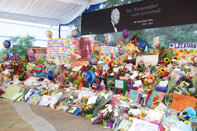 flowers, balloons, cards at the Singapore General Hospital after the death of Lee Kuan Yew