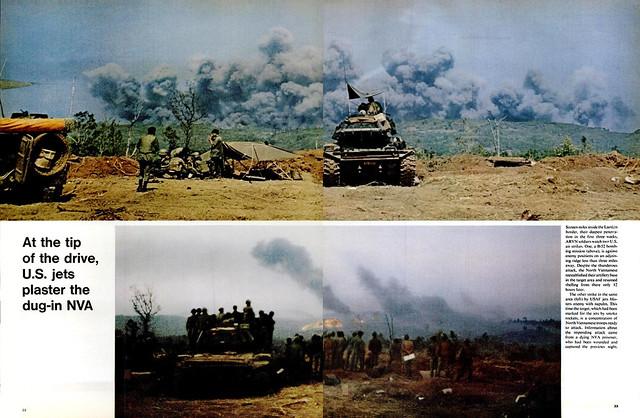 LIFE magazine, 12 Mar 1971 - THE WAR IN LAOS (2) - At the tip of the drive, U.S. jets plaster the dug-in NVA - Ở đầu mũi tiến quân, các phản lực cơ Mỹ vùi lấp quân Bắc VN đang ẩn nấp trong các hầm hố.