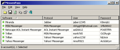 MessenPass - Recover MSN, Yahoo Messenger, ICQ, Trillian Passwords