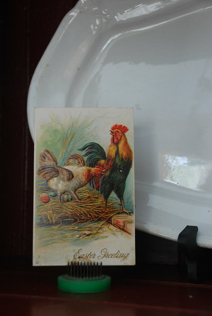 Ironstone Platter and Vintage Easter Postcard