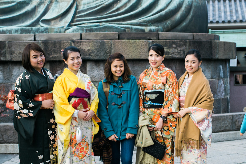 Me with visitors from Thailand in The Great Buddha Kamakura