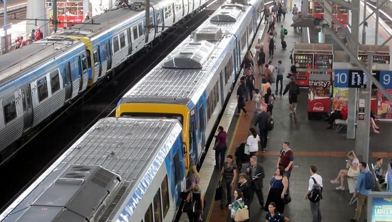 Belgrave train arriving Southern Cross