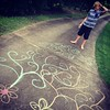 Chalk on the driveway.