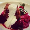 Spare ribs with beets and sauerkraut and a dollop of horseradish sauce. Dining month at the Bent Brick in Portland