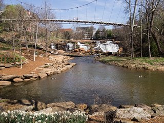 Reedy River Falls through Liberty Bridge - 1
