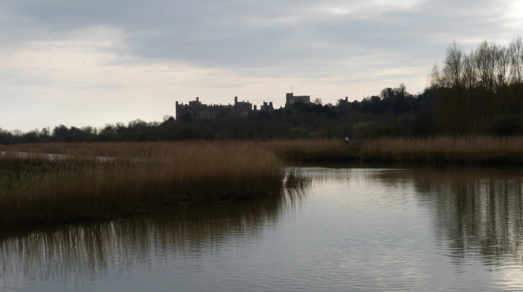 Arundel Castle from Black Rabbit pub Arundel via Amberley Circular walk