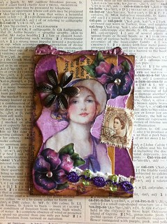 VC: Pansy + Purple + Postage stamp ATC #2