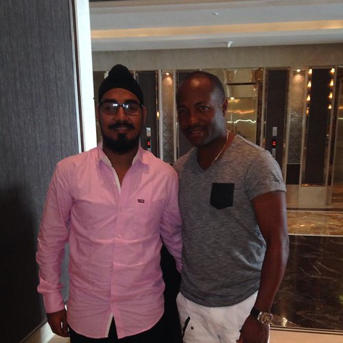 Mandeep Singh with Brian Lara at Mumbai India