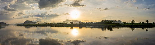 travel sunset panorama sun reflection water river landscape asia southeastasia cloudy sigma myanmar hpaan sigmaart sigma35mmart