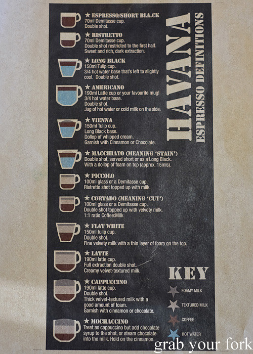 Espresso coffee guide at Havana Coffee Works, Wellington
