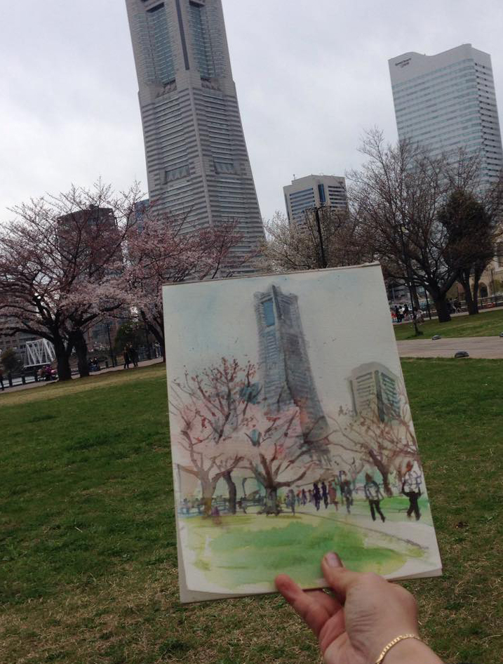 Cherry blosom trees and Landmark tower