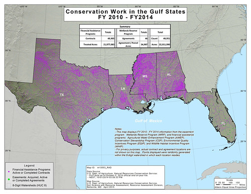 Conservation Work in the Gulf States, fiscal years 2010-2014 conservation map.