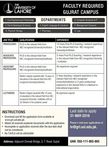 The University of Lahore Gujrat Campus Faculty Required