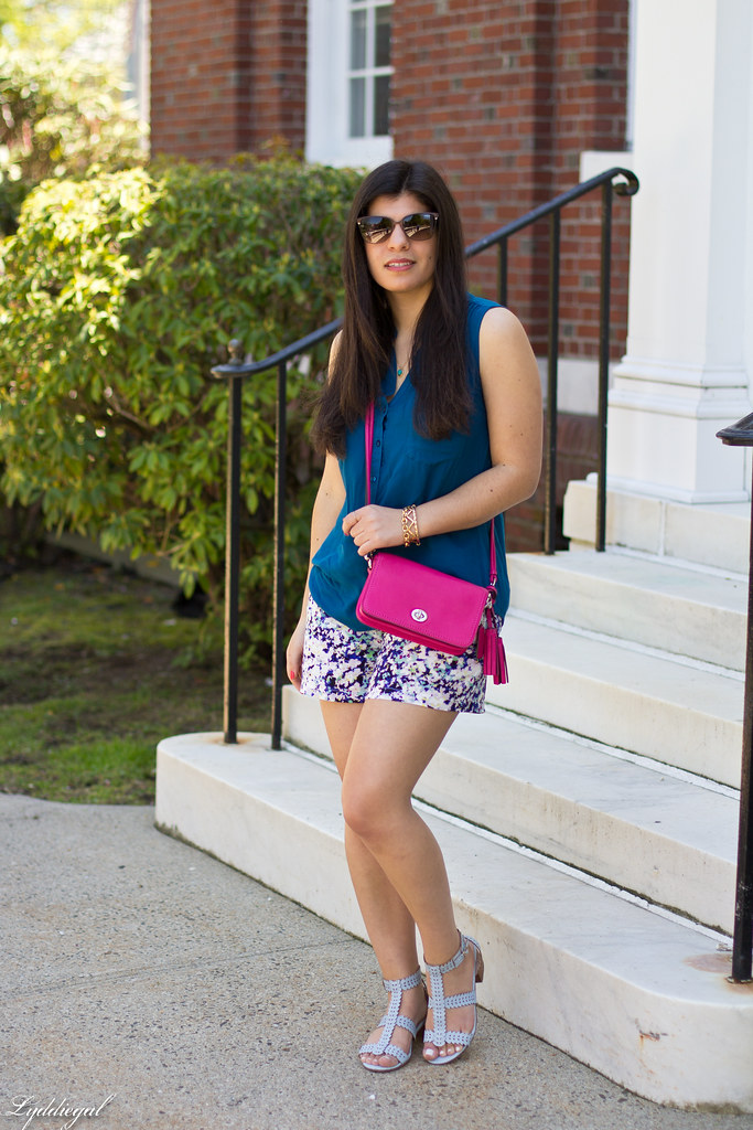 floral print shorts, blue top, pink coach bag-2.jpg