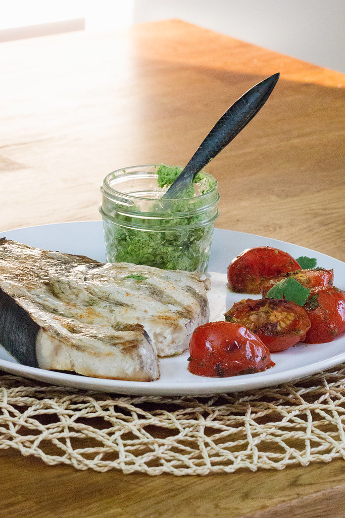 Grilled Swordfish and Tomatoes with Cilantro Butter