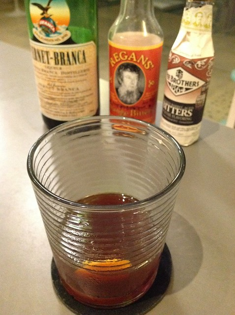 Fernet Old Fashioned with Fernet-Branca, Regan's bitters, Fee Brothers' whiskey barrel-aged old fashioned bitters