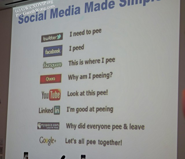 Social media made simple  slide by Prof. Sir George Reid _DSC3857 well observed pee-nalogy @ConCorpsLondon @EmbassyMagazine #ConsuCon