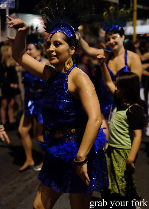 Batucada parade samba dancers at the Cuba Dupa Festival 2015, Wellington