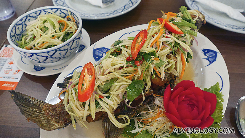 Sea bass with mango salad
