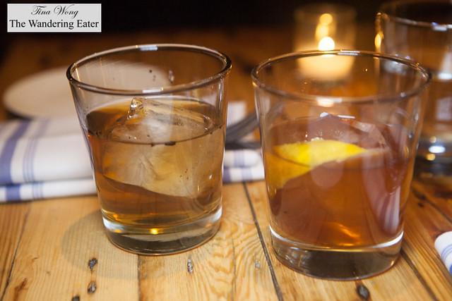 Our cocktails: Kentucky Dynasty (left) and Rye, Roots & Roses (right)