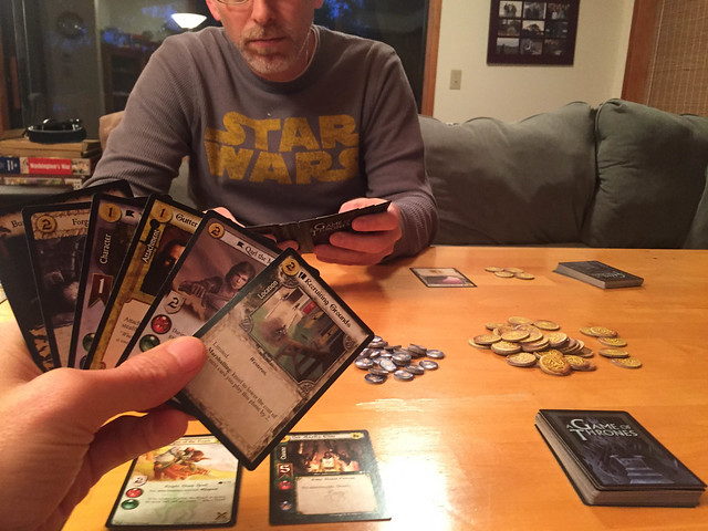 Chris playing Game of Thrones CCG with Matt