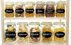 Glass jar filled with  pasta