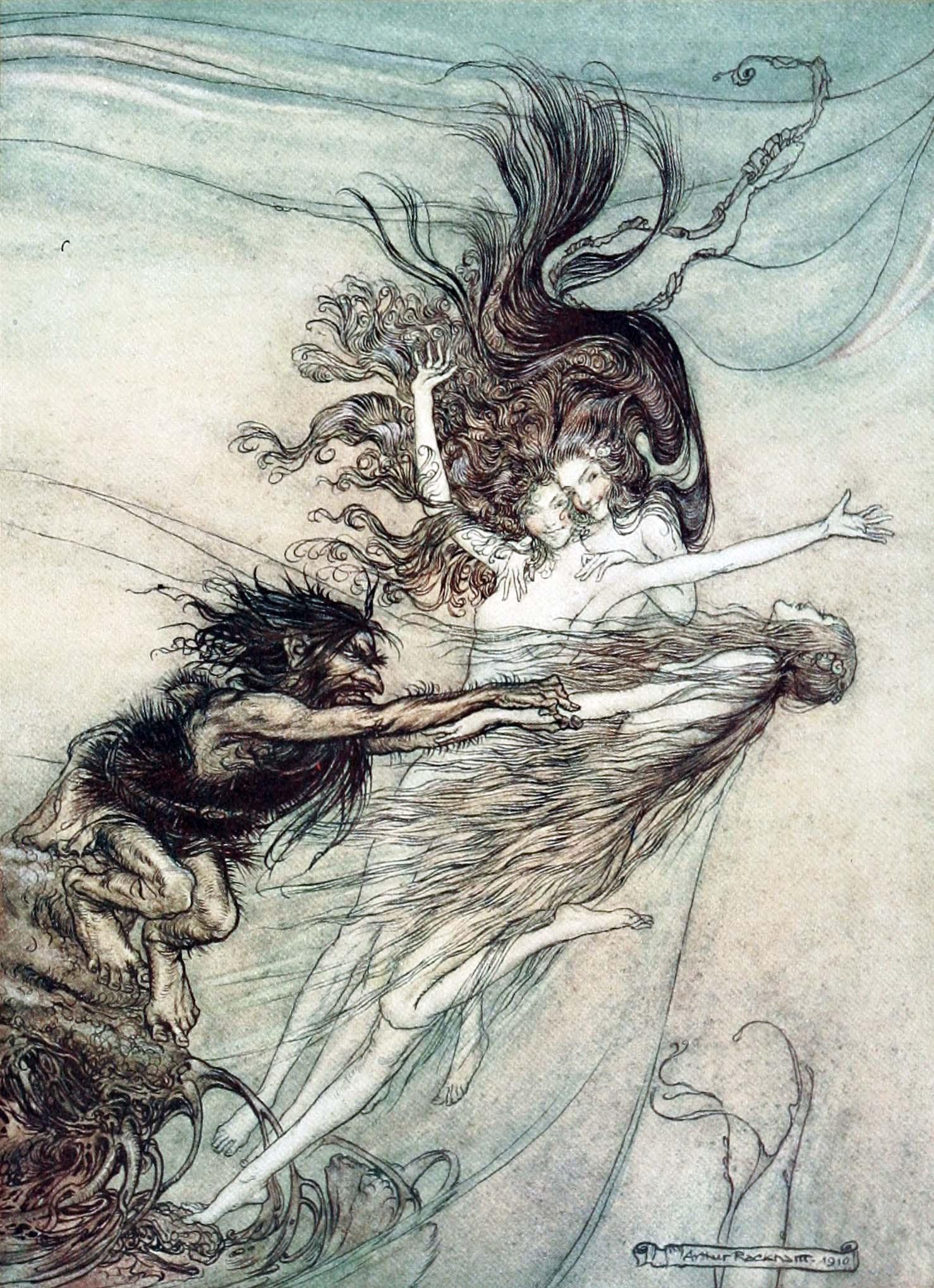 Arthur Rackham, The Rhine-Maidens teasing Alberich, Die Rheintöchter necken Alberich, 1910