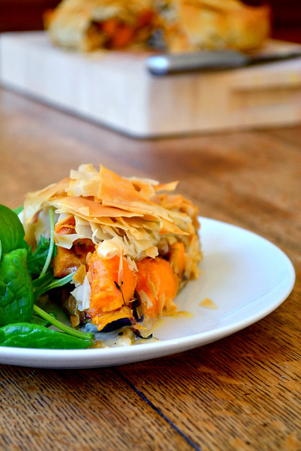Sweet Potato and Blue Cheese Filo Pie