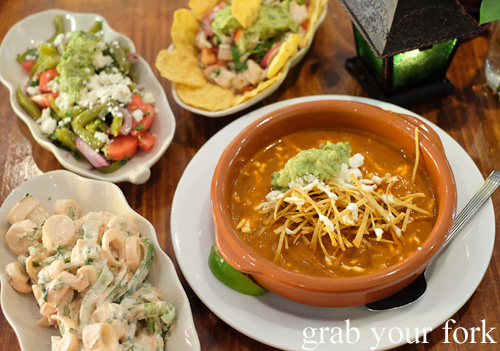 Hearts of palm salad, cactus salad, ceviche and tortilla soup at La Cocina de la Abuela, Marrickville